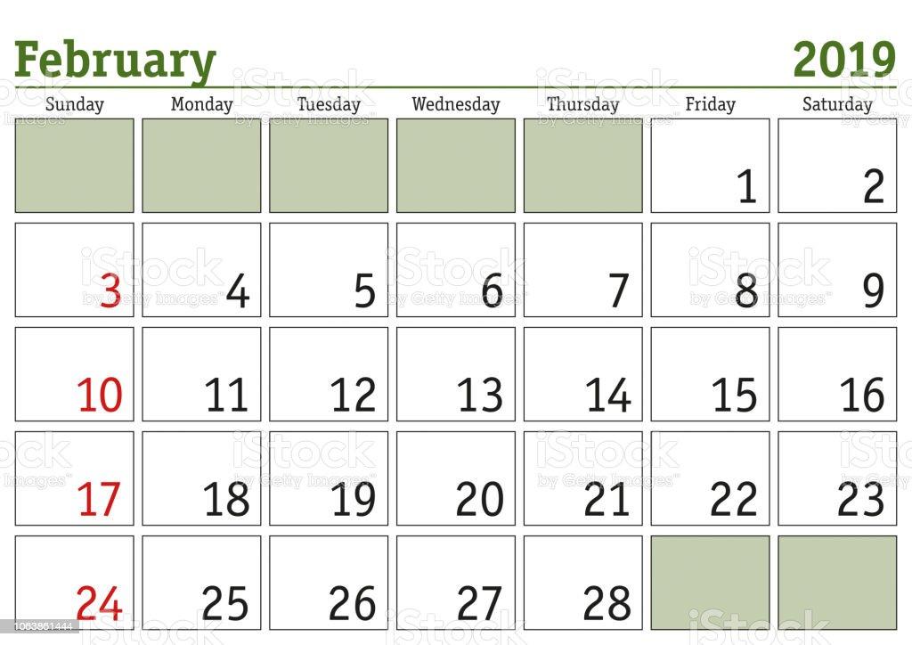 Calendario Febrero 2019 Usa February 2019 February 2019 English Usa Stock Illustration   Download Image Now