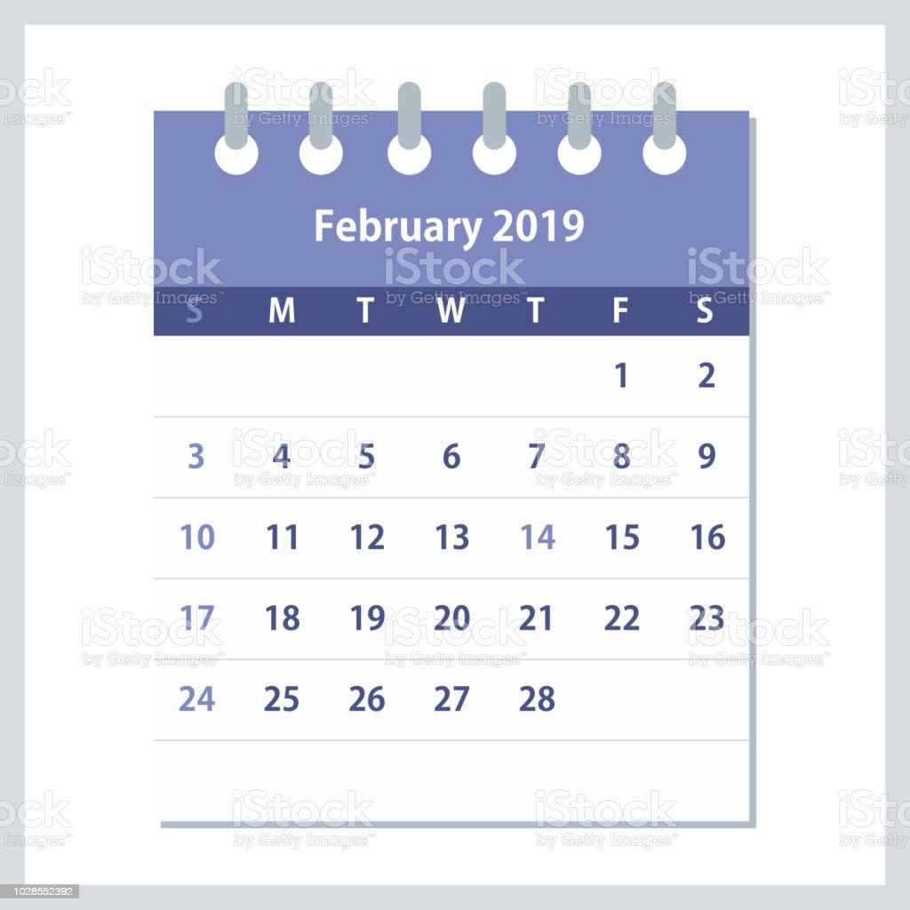 February 2019 Flat Calendar Monthly Calendar Design Template Stock