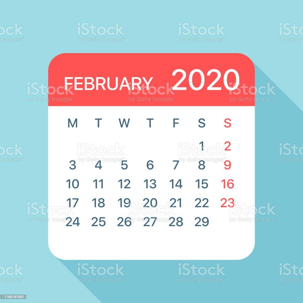 Febrero 2020 Calendario.Ilustracion De Febrero 2020 Calendario Hoja Ilustracion Vectorial Y