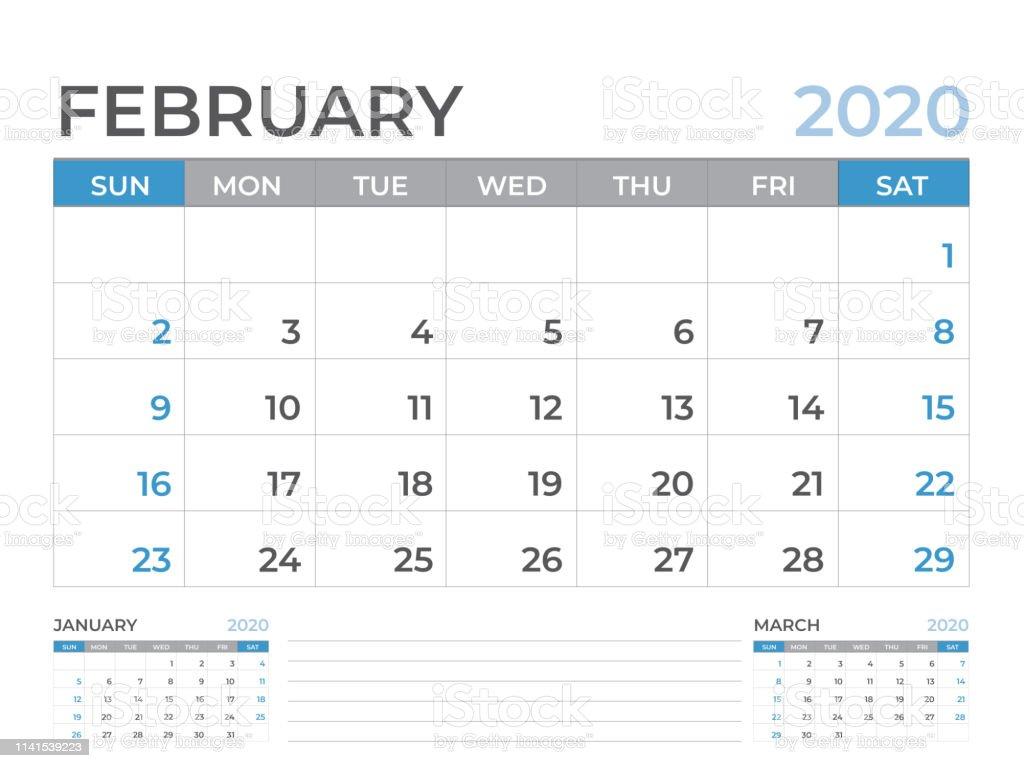 Febrero 2020 Calendario.Ilustracion De Febrero 2020 Plantilla De Calendario Diseno Del