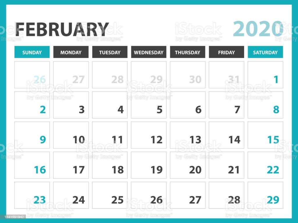 Calendrier Février 2020.Fevrier 2020 Calendrier Modele Calendrier De Bureau Mise En