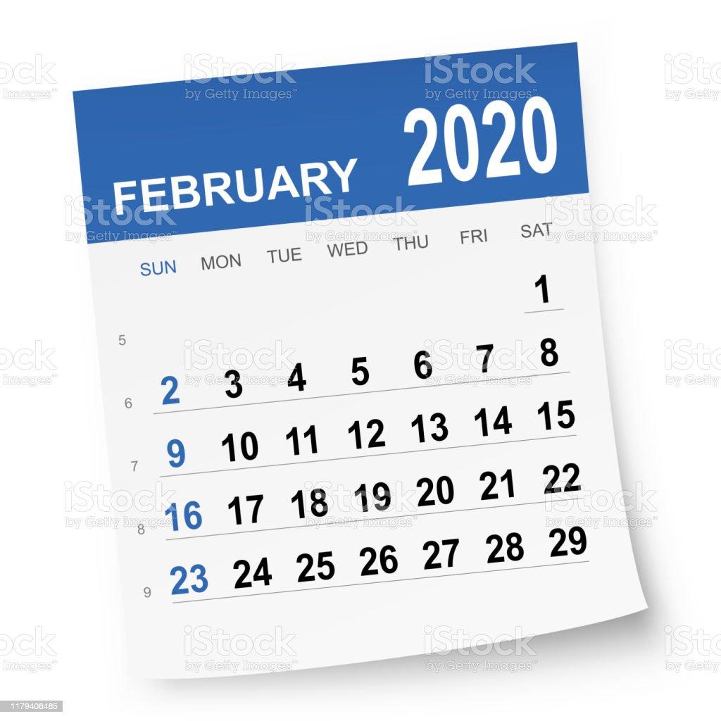 February 2020 Calendar - Royalty-free 2020 stock vector