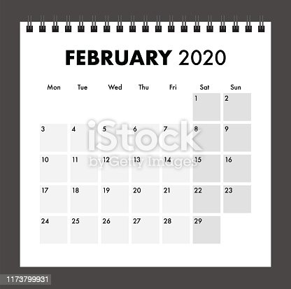 istock February 2020 calendar with wire band 1173799931