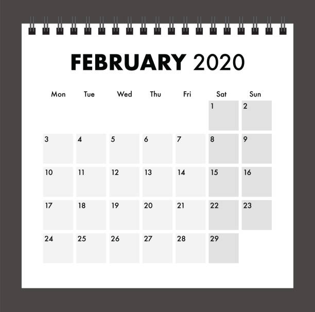 February 2020 calendar with wire band February 2020 calendar with wire band calendars templates stock illustrations