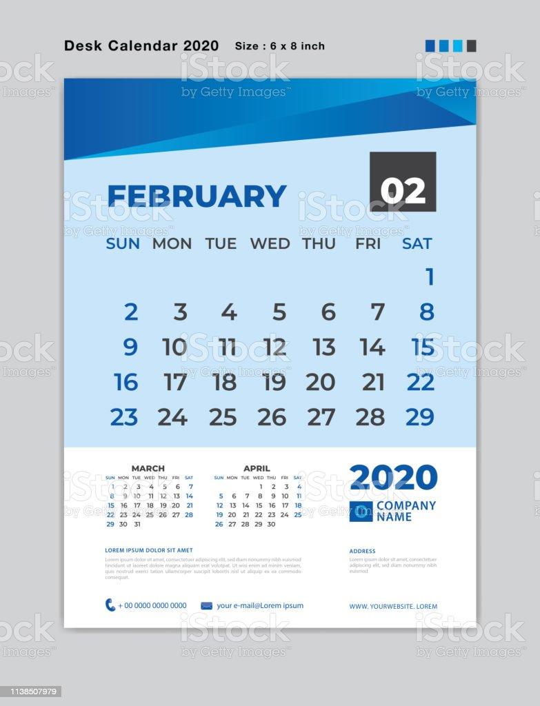 Febrero 2020 Calendario.Ilustracion De Febrero 2020 Plantilla De Mes Calendario De