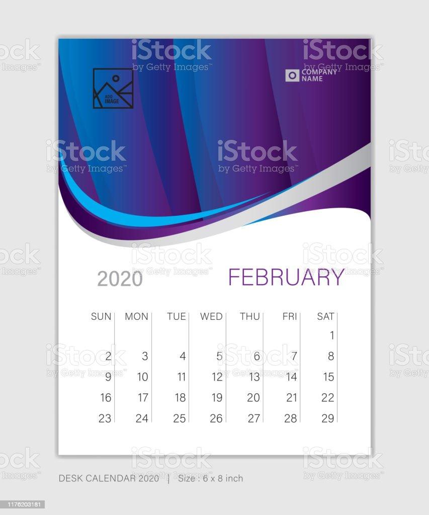 February 15 Template Desk Calendar For 15 Year Week Start On Sunday  Planner Design Wall Calendar Stationery Business Printing Vertical Vector