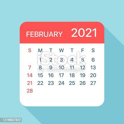 istock February 2021 Calendar Leaf - Vector Illustration 1218637322