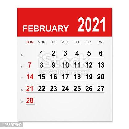 istock February 2021 Calendar 1268297942
