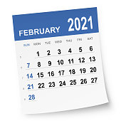 February 2021 calendar isolated on a white background. Need another version, another month, another year... Check my portfolio. Vector Illustration (EPS10, well layered and grouped). Easy to edit, manipulate, resize or colorize.