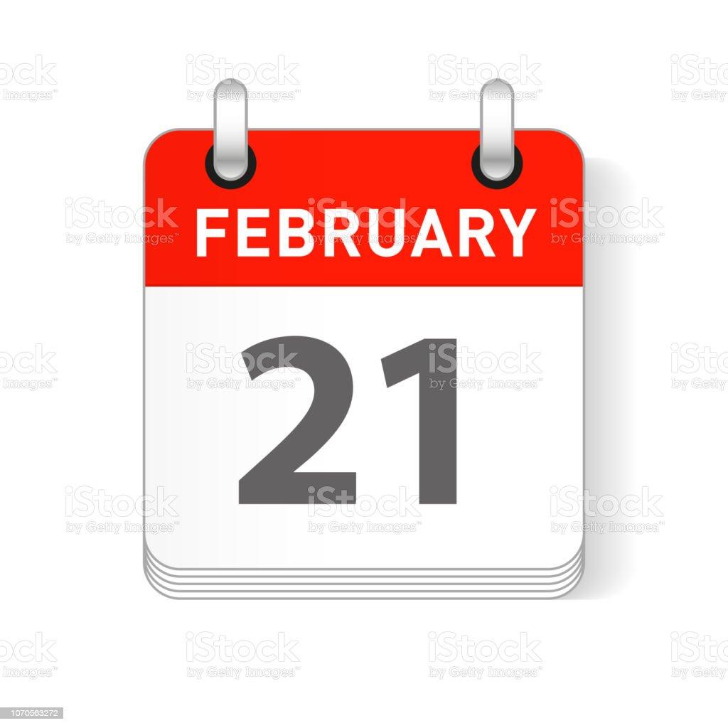 Calendar Date.February 21 Calendar Date Design Stock Illustration Download Image