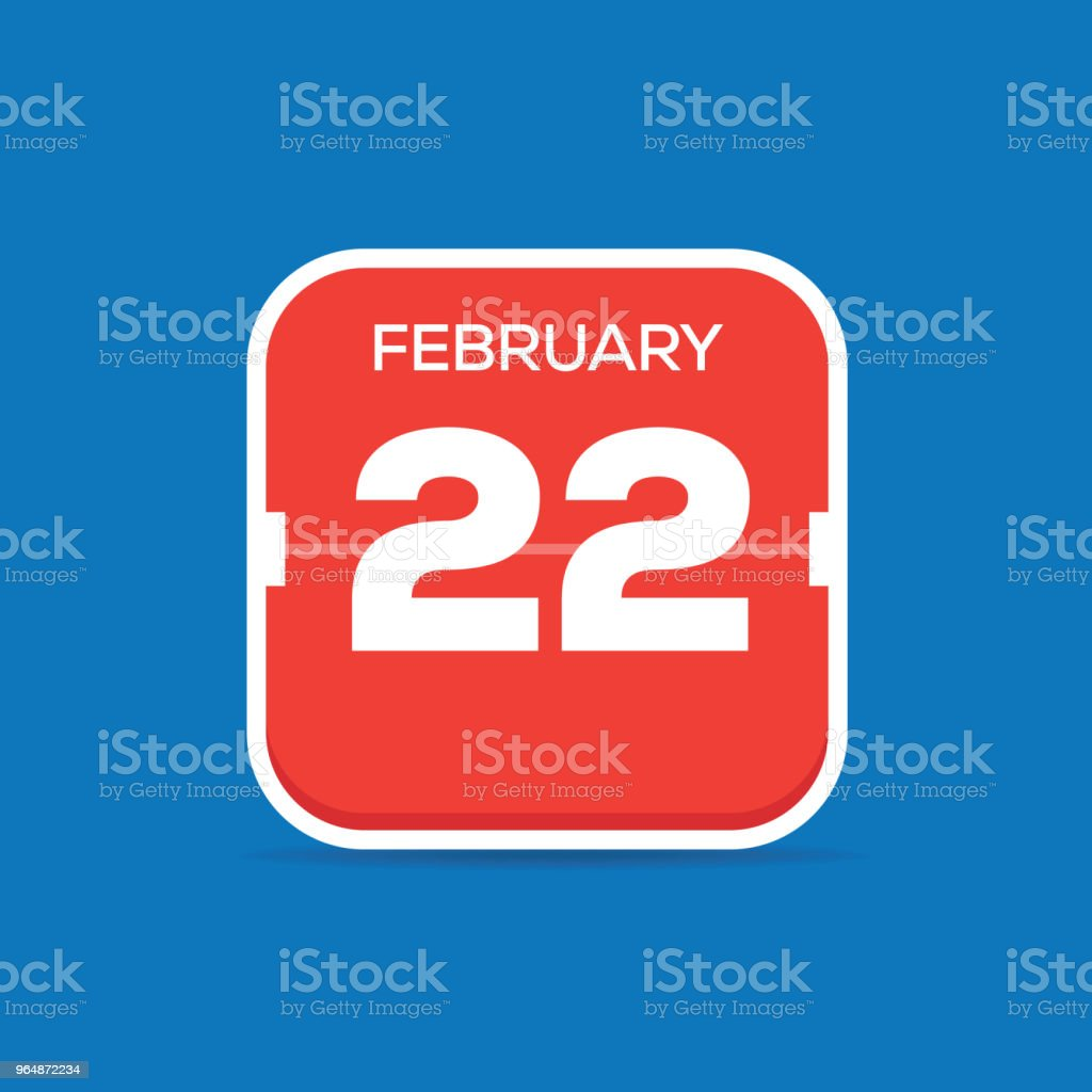 February 22 Calendar Flat Icon royalty-free february 22 calendar flat icon stock vector art & more images of april