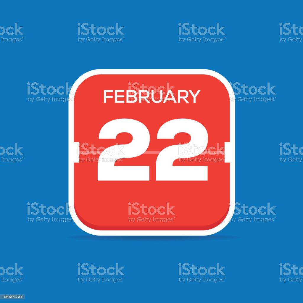 2月22日月曆平面圖標 - 免版稅一個物體圖庫向量圖形