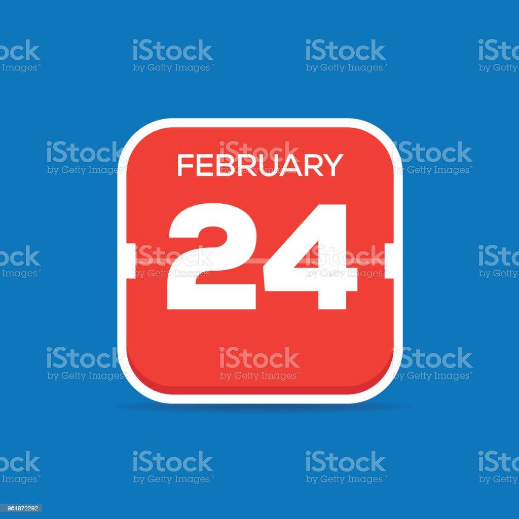 2月24日月曆平面圖標 - 免版稅24號圖庫向量圖形