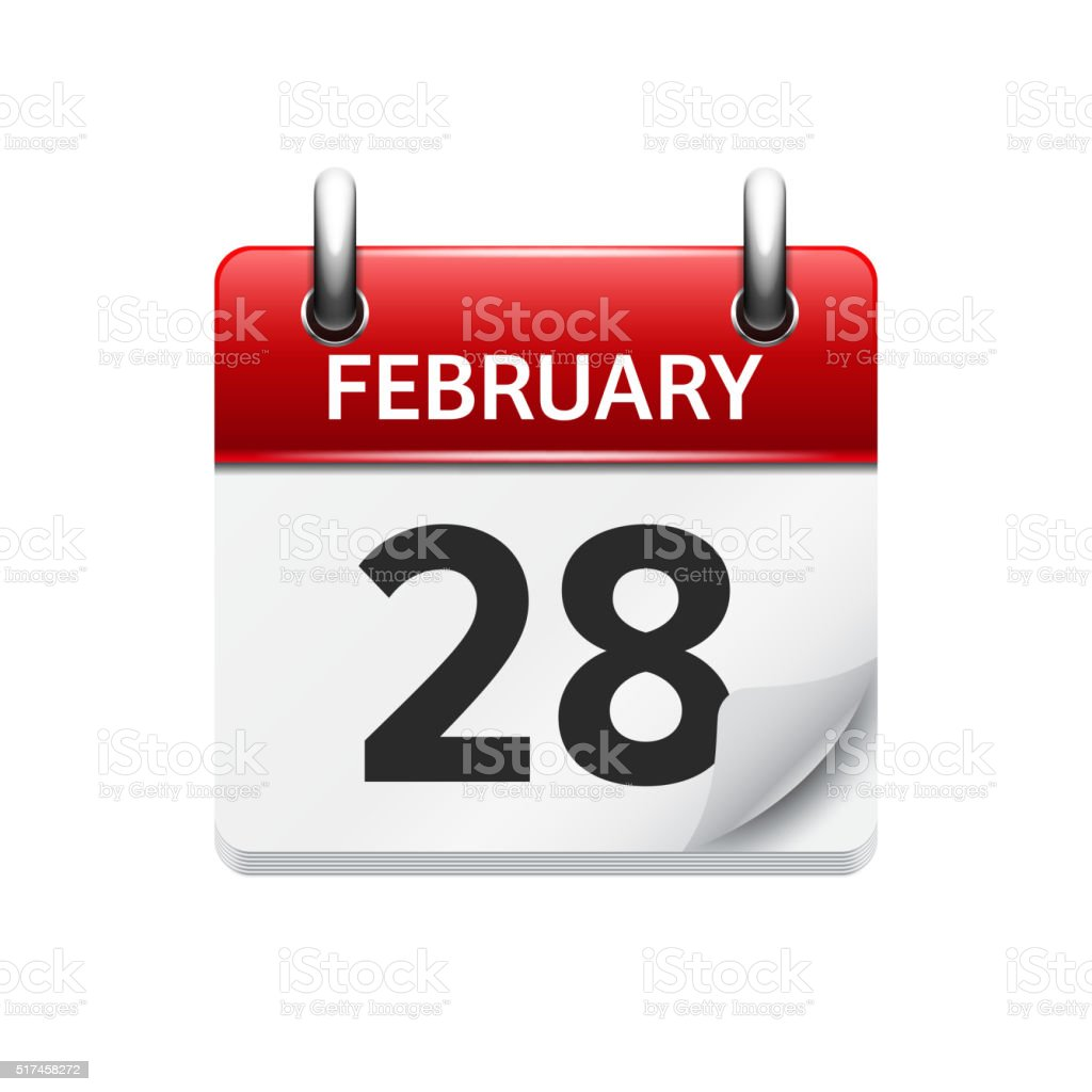 February 28. Vector flat daily calendar icon. Date and time vector art illustration