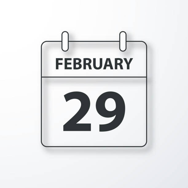 february 29 - daily calendar - black outline with shadow on white background - leap year stock illustrations, clip art, cartoons, & icons