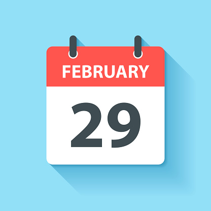 February 29 - Daily Calendar Icon in flat design style