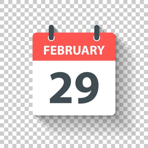 February 29 - Daily Calendar Icon in flat design style vector art illustration