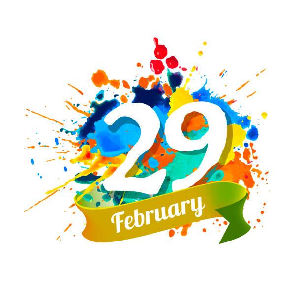 february 29. leap day. splash paint - jumping stock illustrations