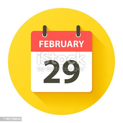 February 29. Round calendar Icon with long shadow in a Flat Design style. Daily calendar isolated on a yellow circle. Vector Illustration (EPS10, well layered and grouped). Easy to edit, manipulate, resize or colorize.