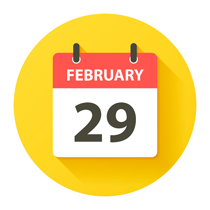 February 29 - Round Daily Calendar Icon in flat design style