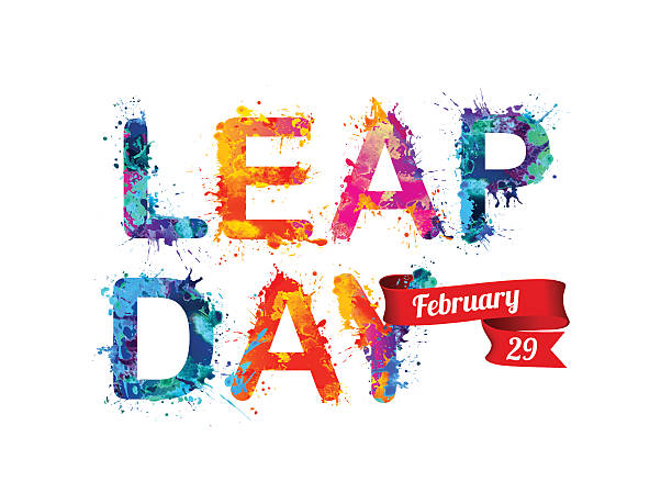 LEAP DAY. February 29 Vector watercolor splash paint jumping stock illustrations