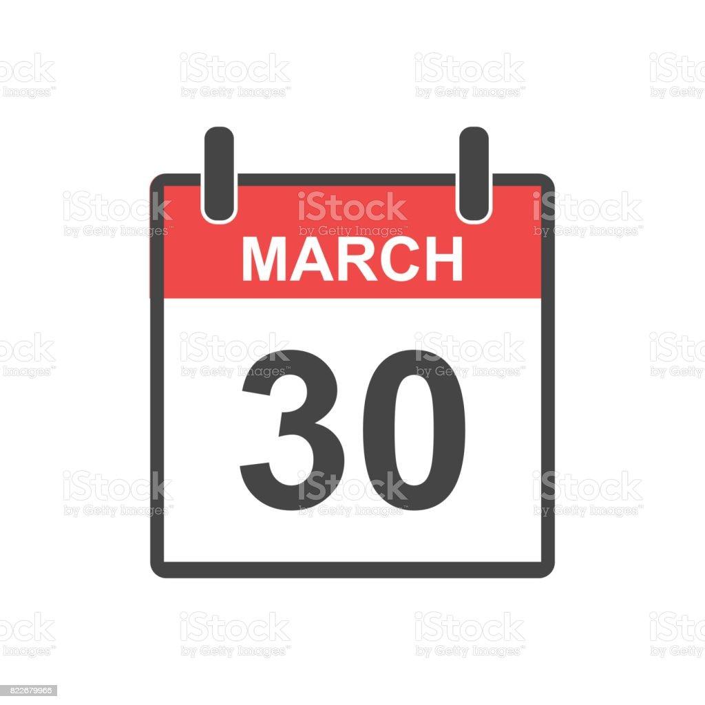 2 月 30 日カレンダーのアイコン休日の医師の日フラット スタイルの ...