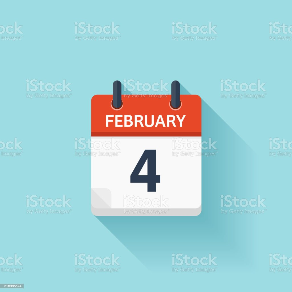 February 4. Vector flat daily calendar icon. Date and time vector art illustration
