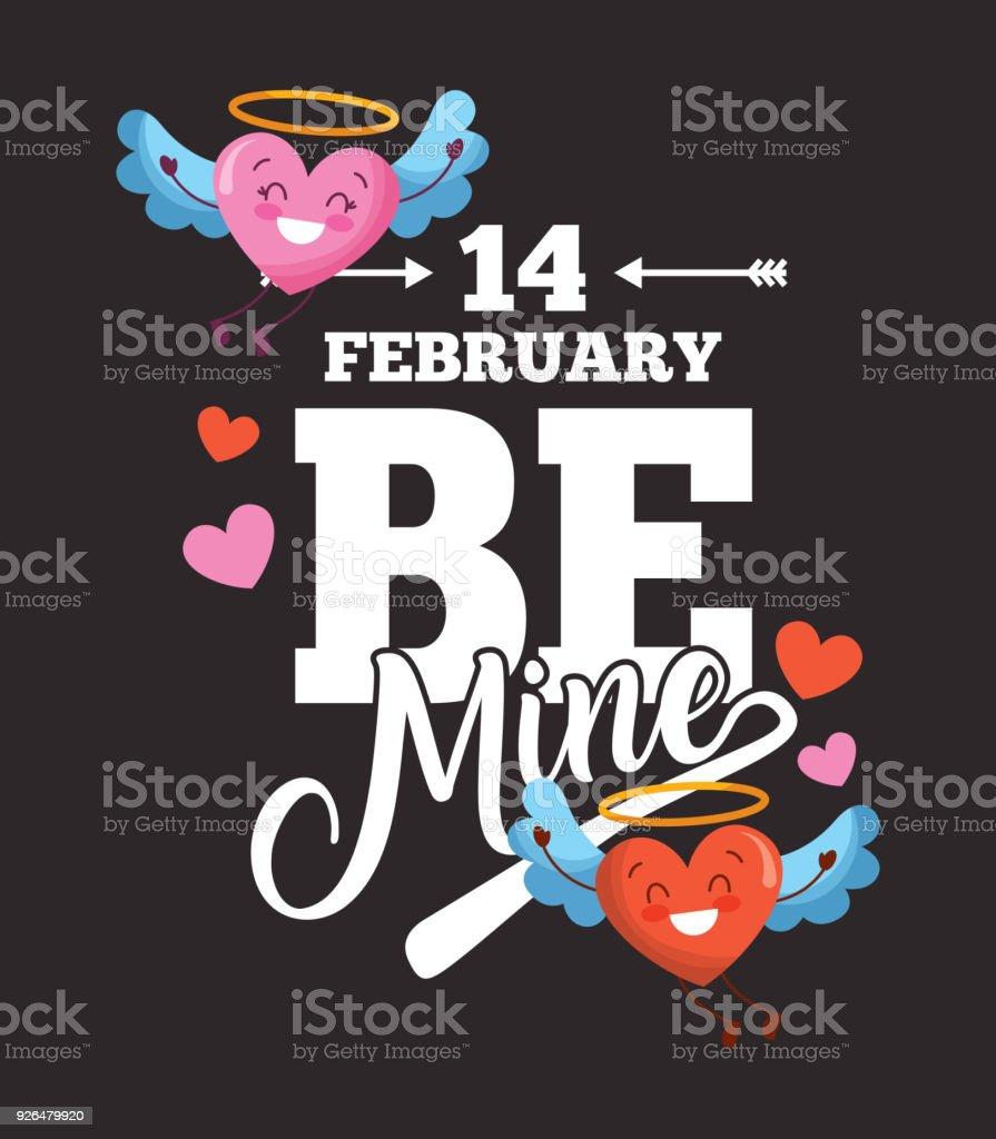 Ilustración De 14 De Febrero Ser Mina Tarjeta Amor Corazones Con