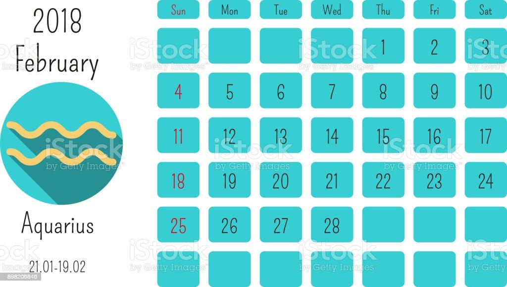 February Calendar 2018 With Horoscope Signs Zodiac Symbols Flat