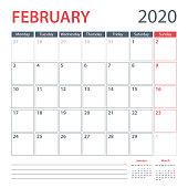 2020 February Calendar Planner Vector Template. Week starts Monday