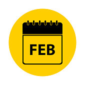February Calendar Yellow Vector Icon