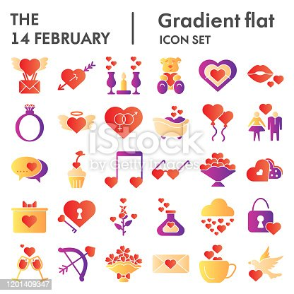 14 February flat icon set, Valentine day love collection, vector sketches, logo illustrations, computer web signs gradient pictograms package isolated on white background, eps 10