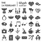 14 February glyph icon set, Valentine day love collection, vector sketches, logo illustrations, computer web signs solid pictograms package isolated on white background, eps 10