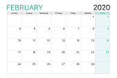 2020 February illustration vector desk calendar weeks start on Monday green and white theme