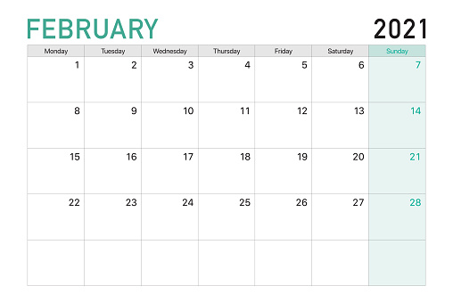 2021 February illustration vector desk calendar weeks start on Mondayin light green and white theme