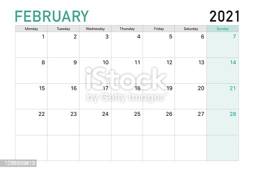 istock 2021 February illustration vector desk calendar weeks start on Mondayin light green and white theme 1288939813