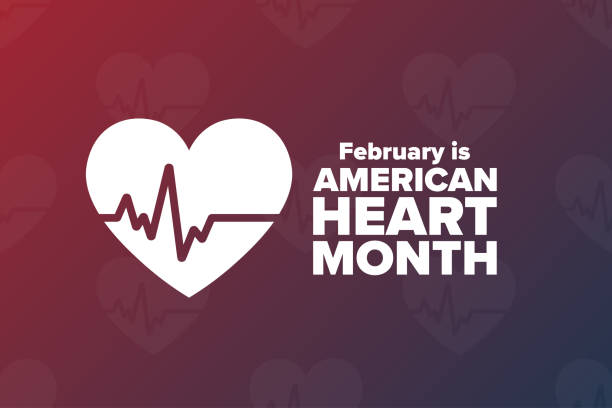 February is American Heart Month. Holiday concept. Template for background, banner, card, poster with text inscription. Vector EPS10 illustration. February is American Heart Month. Holiday concept. Template for background, banner, card, poster with text inscription. Vector EPS10 illustration month stock illustrations