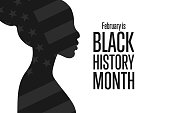 February is National Black History Month. Holiday concept. Template for background, banner, card, poster with text inscription. Vector EPS10 illustration.