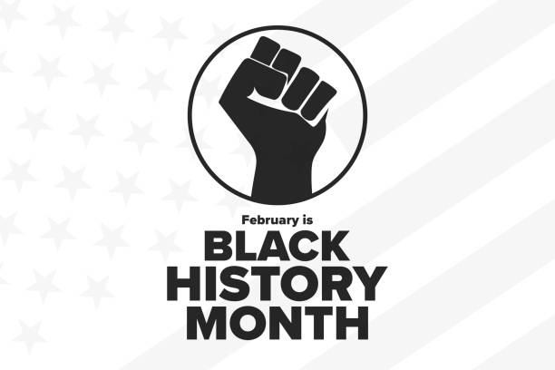 February is National Black History Month. Holiday concept. Template for background, banner, card, poster with text inscription. Vector EPS10 illustration. February is National Black History Month. Holiday concept. Template for background, banner, card, poster with text inscription. Vector EPS10 illustration civil rights stock illustrations