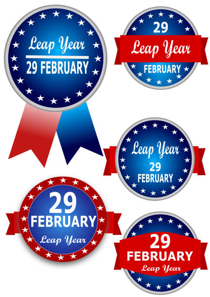 29 february leap day - leap year stock illustrations