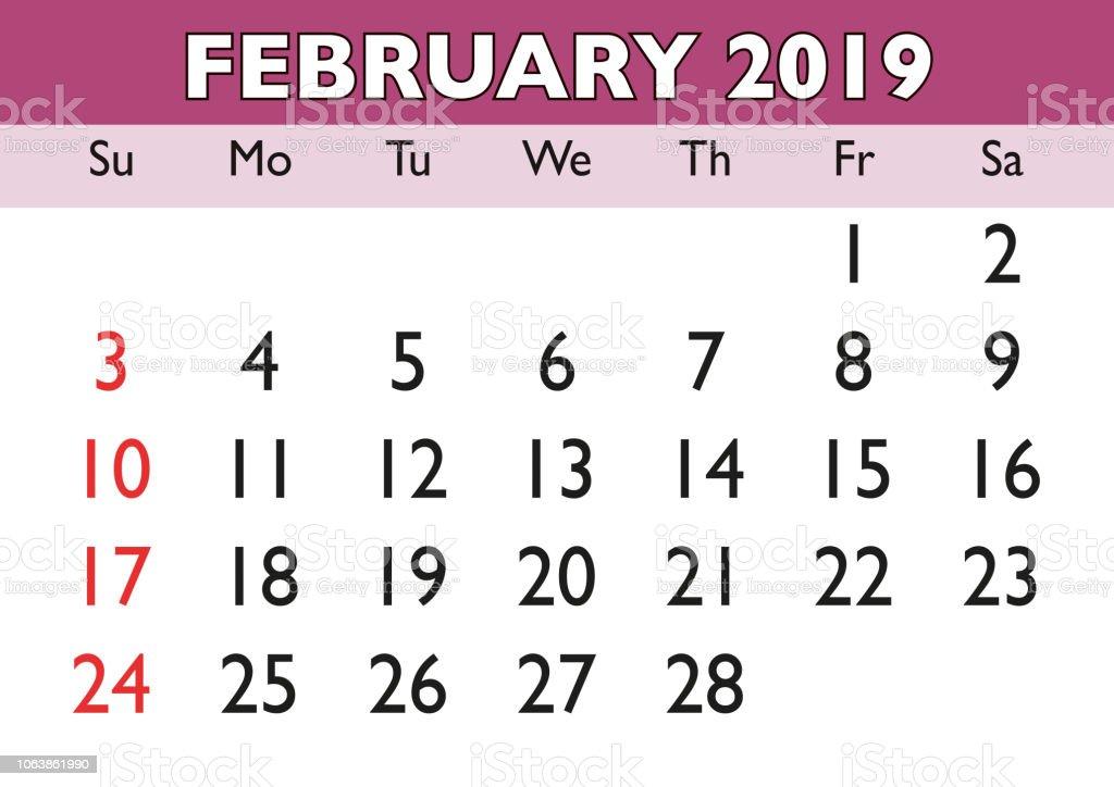 Calendario Febrero 2019 Usa February 2019 Ilustración de Mes De Febrero Del Calendario 2019 Inglés Usa y más