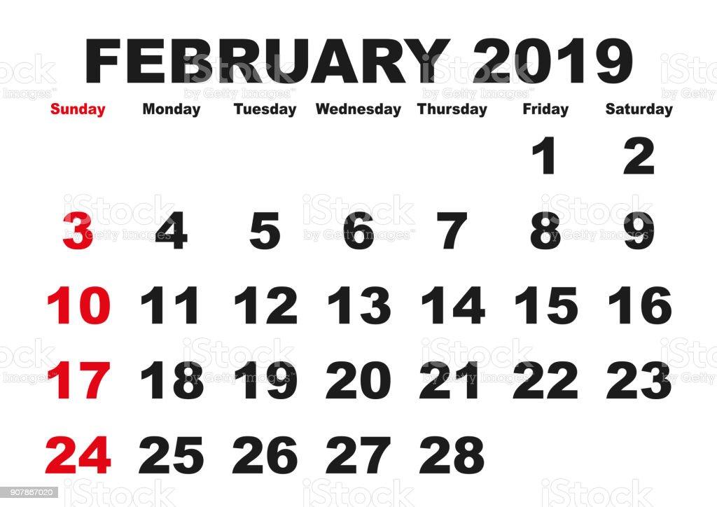 Calendario Febrero 2019.Ilustracion De Mes De Febrero Del Calendario 2019 Ingles Usa Y Mas