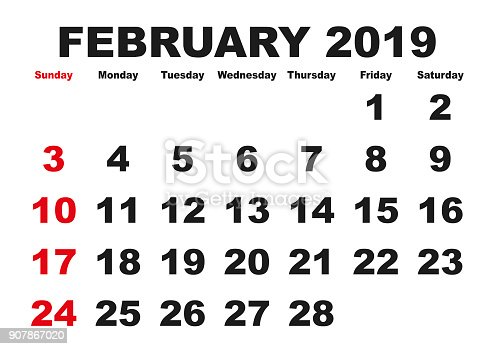 February Month Calendar 2019 English Usa Stock Vector Art