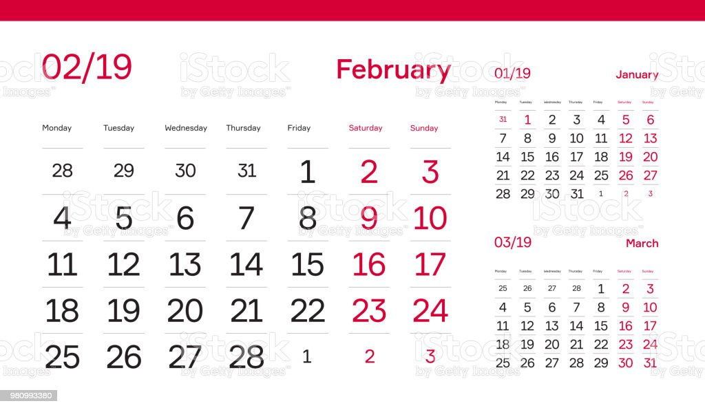 february month page premium 2019 calendar grid set of 12 months table wall