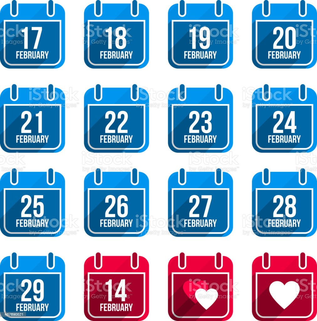February vector flat calendar icons. Days Of Year Set 10 royalty-free february vector flat calendar icons days of year set 10 stock illustration - download image now