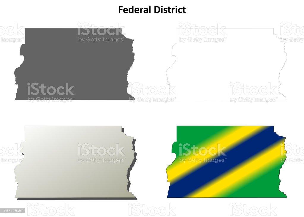 Federal District blank outline map set vector art illustration