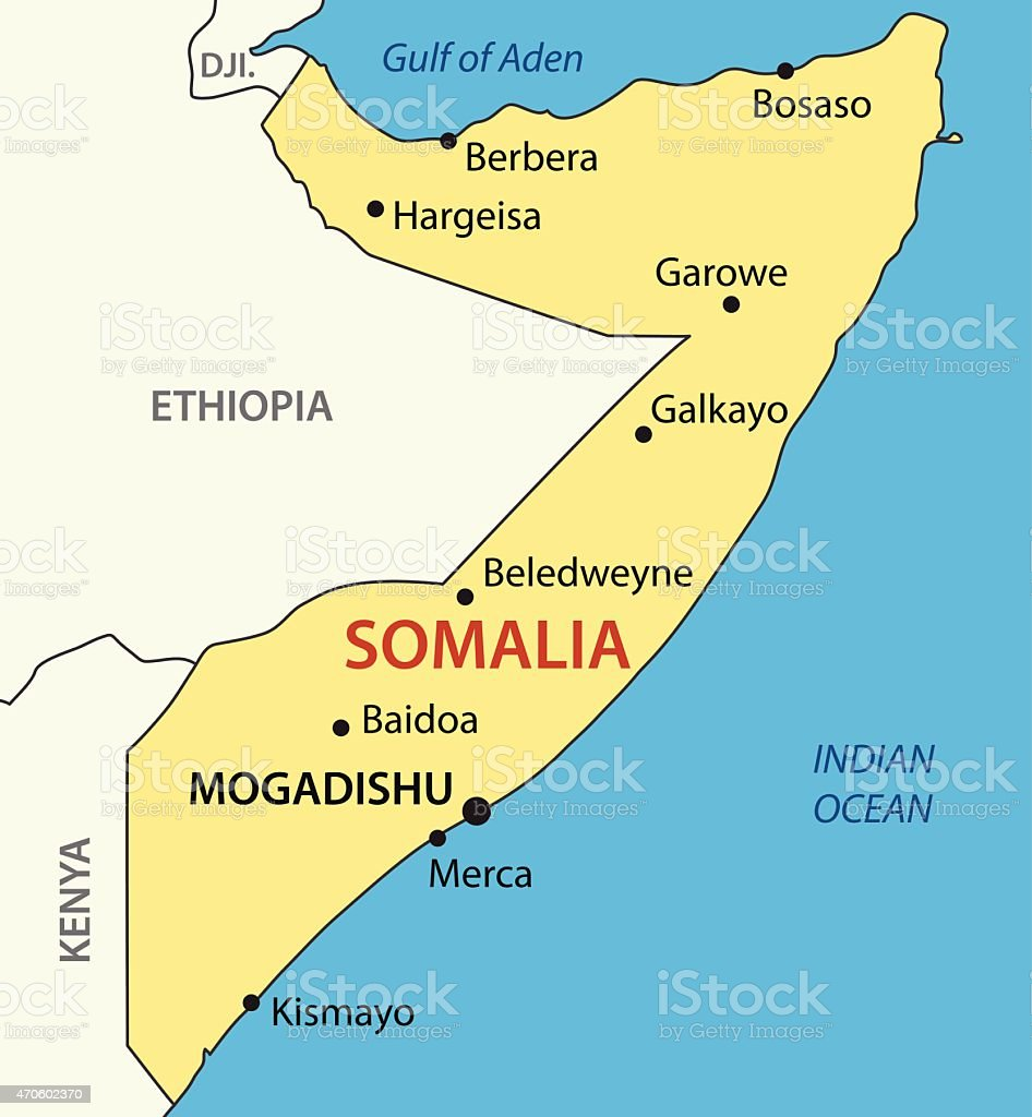Mogadishu Africa Map.Federal Republic Of Somalia Vector Map Stock Illustration