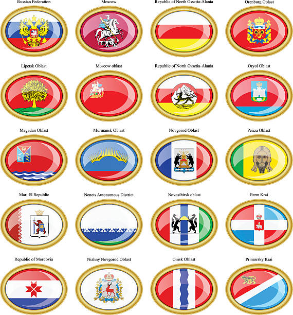 federal subjects of the russian federation flags. - alanya stock-grafiken, -clipart, -cartoons und -symbole