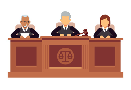 Federal supreme court with judges. Jurisprudence and law vector concept