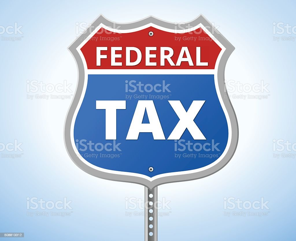 Federal Tax Route Sign vector art illustration